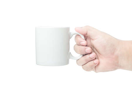 right yellow brown skin hand side holding white coffee cup on isolated background