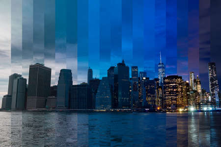 collage: USA. New York City. As evening turns into night over Manhattan. Fantastic collage Stock Photo