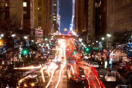 new york at night: USA. Night NYC. Traffic at the intersection of 42nd street and 2nd Ave