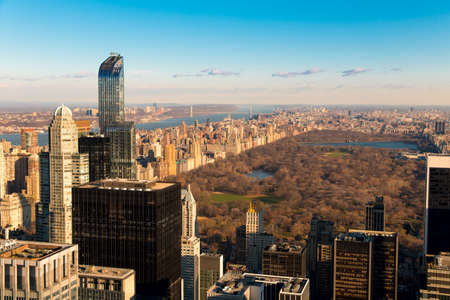 building exteriors: USA. New York City. View from a skyscraper of Central Park. Early spring