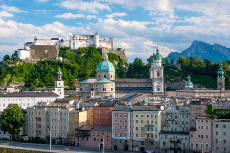 wolfgang: Austria. Salzburg. View of the downtown and the Festung Hohensalzburg