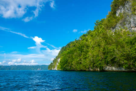 Indonesia. Rocky coast of a tropical island in sunny weather. Rainforest on a slope. Sailing ship in the distance