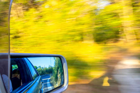 Car goes fast on a summer road. Road marking and bushes in the rearview mirror. Sunny weather