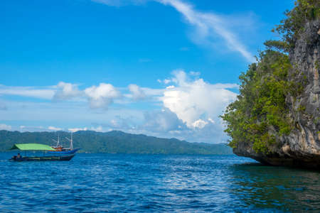 Islands of indonesia. Raja Ampat. The edge of a rocky island, overgrown with tropical vegetation and pleasure boats