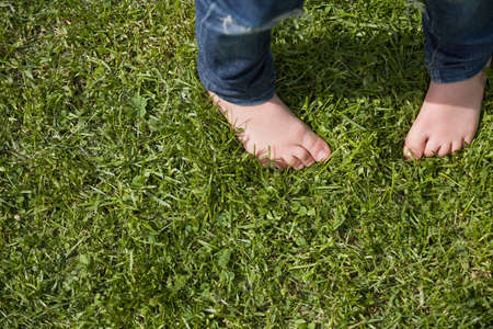girl in jeans: Top view on kids bare feet on the green grass. Little boy standing on the grass in the park on a sunny day. Childs bare feet. Stock Photo