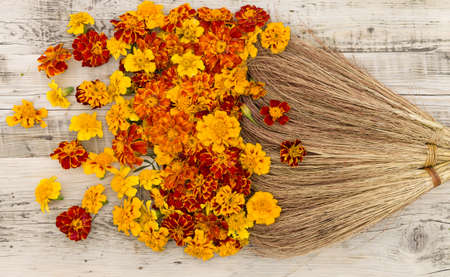 Top view on old styled broom sweeping yellow, orange amd red flowers on wooden background. Marigolds (Tagetes erecta, Mexican marigold, Aztec marigold, African marigold)