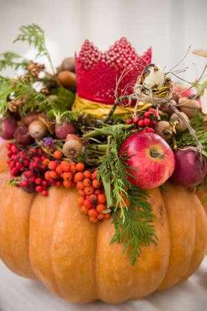 beautiful thanksgiving: Beautiful thanksgiving centerpiece. Autumn pumpkin flower arrangement centerpiece.