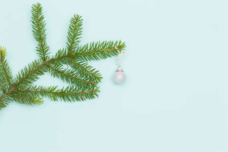 tree decorations: Top view on Christmas tree branch with nice round decoration on blue background. Holiday  season concept. Merry Cgristmas Stock Photo