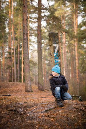 sitting on the ground: Cute kid boy sitting on the ground in the forest on a cold autumn day. Child walking outdoors.