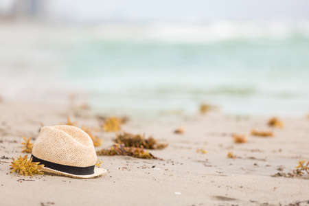 seaweeds: Nice straw hat laying on the sand. Beautiful ocean beach background. Outdoors. Vacation time. End of summer vacations. Dreaming of holidays by the sea. Traveling.