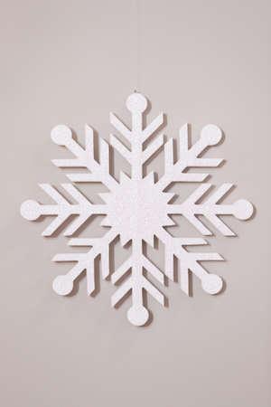 Top view on white snowflake on white background