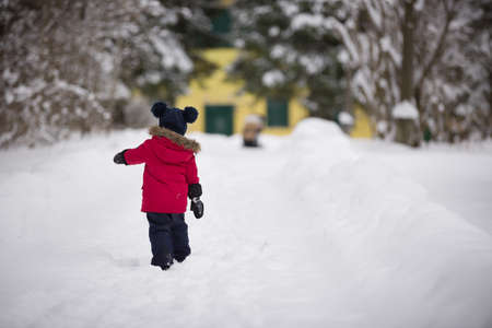 Back view on cute little toddler boy in red down jacket walking on snow road in the park on a winter day. Child outdoors. Lifestyle Stock Photo