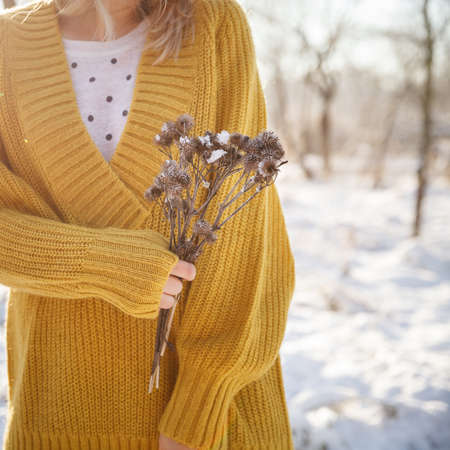 Closeup of girl in bright yellow sweater holding dry flowers in her hands against the backdrop of a sunny winter park. Winter and holiday season. Stock Photo
