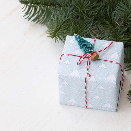 Closeup of Christmas gift with fir branches on white wooden table. Celebration, holiday season and winter concept