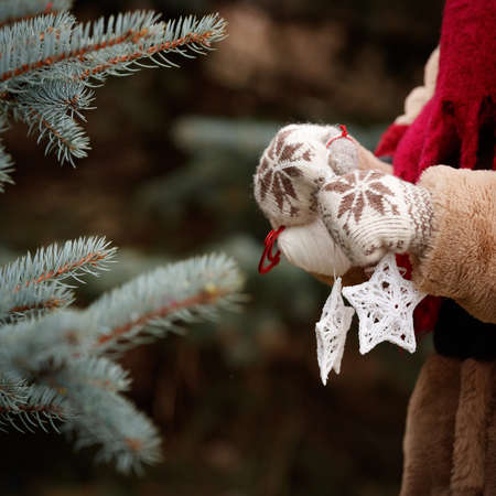 Closeup of a young woman holding in her hands decorations for a Christmas fir in the shape of stars. Decorated Christmas tree. New Year and Christmas concept Stock Photo