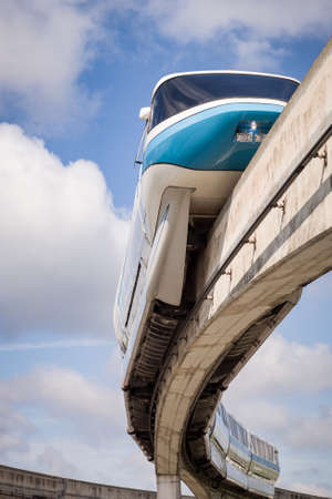 Florida, USA, May 23 2013: Walt Disney's iconic monorail against a blue sky with clouds. Disney's Worldwide Transport System Redakční