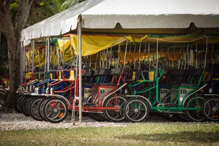 Parking pour vélos surrey dans le plus ancien zoo de Miami. Des vélos familiaux pour quatre personnes attendent un voyage à travers un immense parc zoologique avec des animaux sauvages.