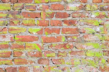 Old red brick wall texture grunge background with strokes of green paint. can be used for interior design. Abstract web banner