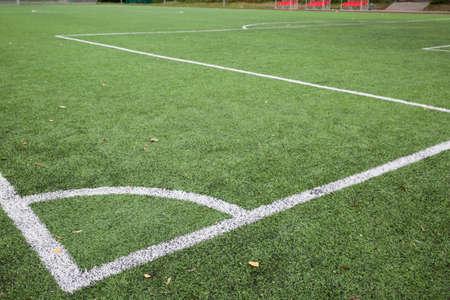 Nahaufnahme der Eckstoßlinie des Fußball- und Fußballplatzes, Hintergrundtextur