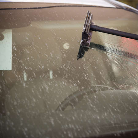 Brush on the background of the windshield of the car. The glass is covered with a large number of dead insects and flies. The car after a trip on the autobahn is preparing to wash.