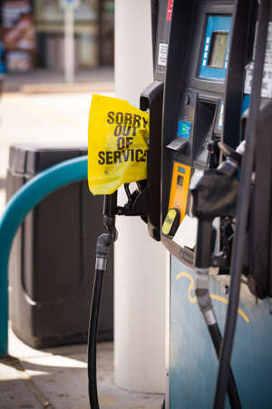 Texas, USA, September 17, 2017: Gas pump exhausted. Hurricanes Harvey and Irma caused a shortage of gasoline at gas stations. Gasoline gun with the inscription - out of service -