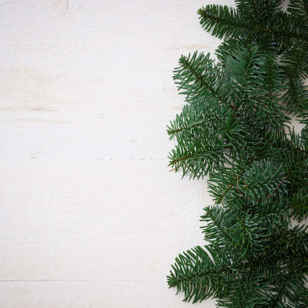 Top view of the fir branches lying on a white wooden table. Christmas mood. Copy space. New Year or holiday concept
