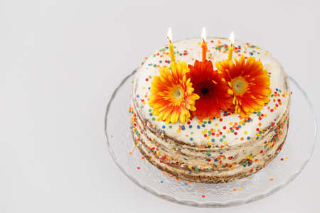 Homemade birthday cake. Delicious white cake on a glass stand decorated with fresh flowers, candles and confetti 스톡 콘텐츠