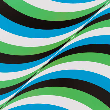Photo of the factory panel with a pattern of multi-colored lines flowing into each other. Abstract background on the wall of intersecting colored lines. 스톡 콘텐츠 - 130400804