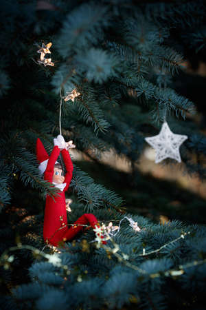 A Christmas toy rises through a garland of decorated blue Christmas trees against the background of toys hanging on the branches of a fir tree. New Year and holiday concept