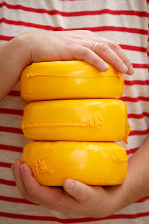 Three Cheese Heads in a yellow vacuum pakage in the hands of a man. Homemade cheese service. The concept of nutrition and healthy lifestyle.