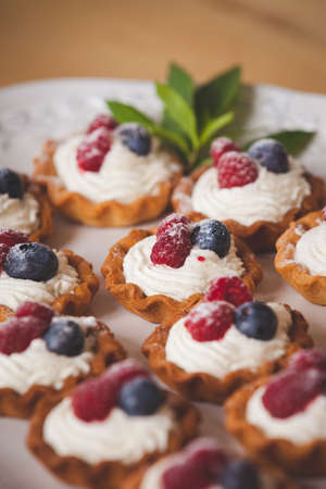 Homemade tartlets with vanilla cream and organic blueberries and raspberries, decorated with mint on a white plate. Delicious sweet dessert for a party or celebration.