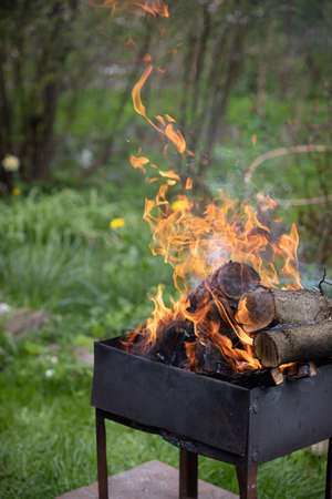 Old barbecue grill with flaming wood logs. Open fire from a metal box. Outdoor picnic in the park.
