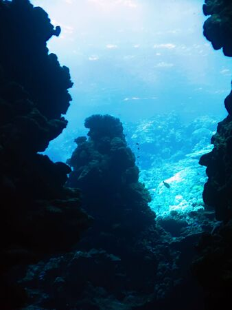 boldness: Sunlight from the underwater cave. The Red Sea Stock Photo