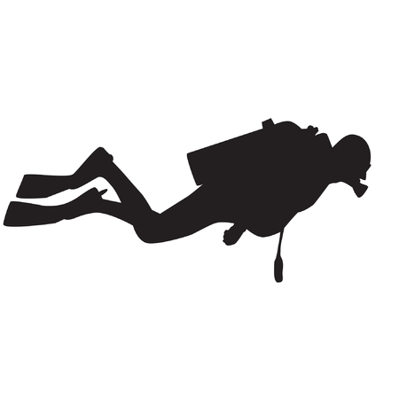 divers: Diver silhouette. Vector