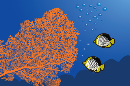 gorgonian: Underwater landscape with Giant Gorgonian Sea-fan and Butterflyfishes.