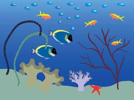 Underwater landscape with Surgeonfishes and Anthiases. Vector