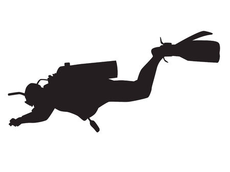 unexpectedness: Vector silhouette of underwater photographer Illustration