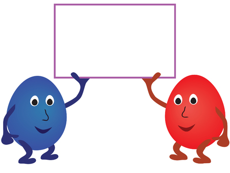 Couple of easter eggs with card for your text in its hands. Vector