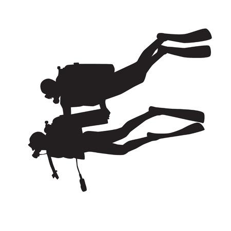 unexpectedness: Introducci�n silueta de buceo. Diver con instructor  Vectores