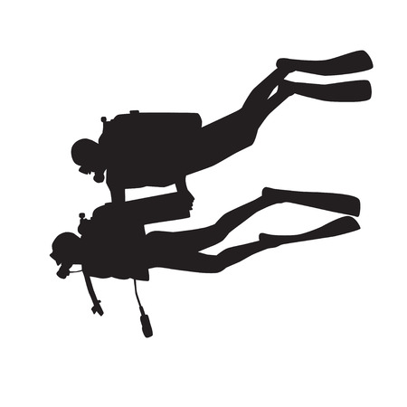 diver: Introduction diving silhouette. Diver with instructor
