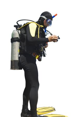wet suit: Diver isolated on white background Stock Photo