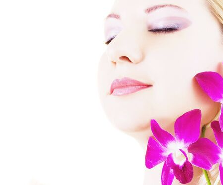 Face of young woman with closed eyes on white background Stock Photo - 3869721