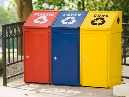 Three recycling bin for cans, plastic and paper. Environmental protection Stock Photo - 4176962