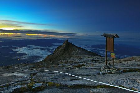 big scenery: South peak at Mount Kinabalu Stock Photo