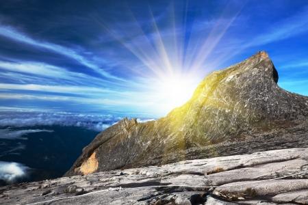 sabah: South peak at Mount Kinabalu Stock Photo