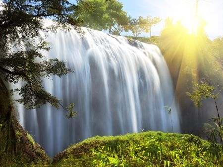 Elephant waterfall in central highland of Vietnam Stock Photo - 4891558