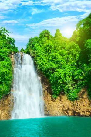 Bobla waterfall in central highland of Vietnam 免版税图像 - 5079888