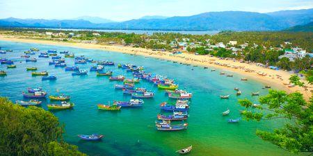 cau:  Fishing village. Song cau. Phu Yen. Vietnam