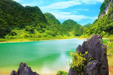 Thang Hen lake. Province Cao Bang. Vietnam Stock Photo