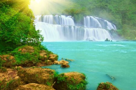 Detian or Ban Gioc waterfall along Vietnamese and Chinese board. photo